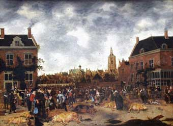 Sybrand van Beest - The Pig Market in the Hague