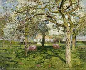 Emile Claus - Le verger au printemps