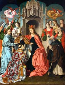 Master of Saint Ildefonse - The Virgin presenting the Chasuble to Saint Ildefonso